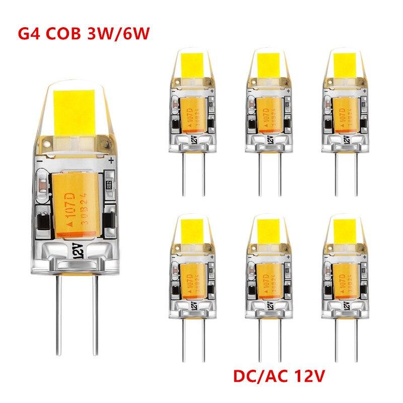 10 Uds Mini G4 luz LED G4 bombilla 3W 6W AC/DC 12V luz LED regulable 360 Ángulo de haz lámparas de araña reemplazar lámparas halógenas
