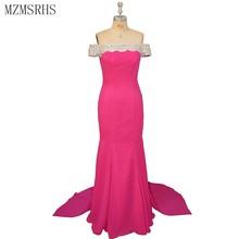 MZMSRHS date dubaï longues robes de soirée avec perles cristal Sexy sirène robe bateau cou pour les femmes fête formelle MZ0800