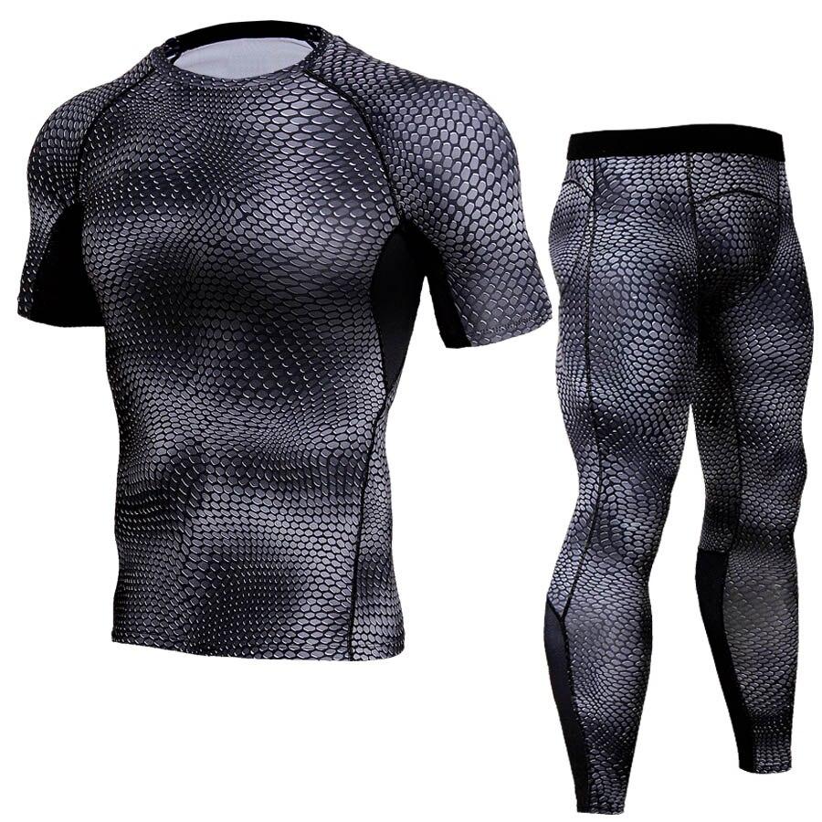 2019 chándal de compresión de ajuste seco para hombres, mallas de Fitness, conjunto de camisas de manga corta, gimnasios, camiseta cruzada, Leggings, 2 unids/set, ropa interior
