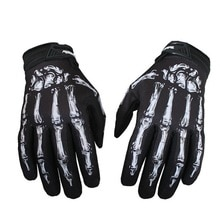 Plein air hommes cyclisme moto crâne os squelette Goth doigt complet gants noir vert