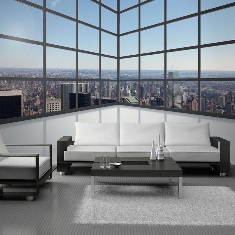 Fondo De fotografía personalizado Mural Papel tapiz 3D estereoscópico espacio balcón ventanas De vidrio ciudad edificio murales Papel De pared 3D