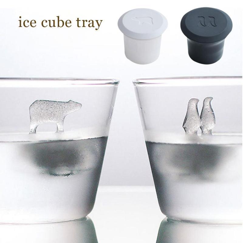 2 pçs urso polar pinguim silicone festa novidade geléia choc alta qualidade gelo gelo gelo cubo fabricante molde ferramentas de gelo para uísque