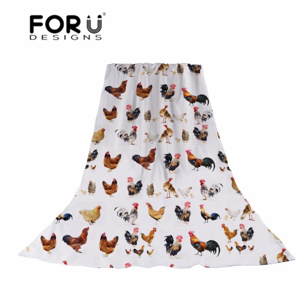 FORUDESIGNS Cartoon Animal Chicken Print Scarves Women Fashion silk Scarf Ladies Lignt Shawl for Females Beach Hijab Cachecol