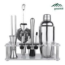 Greenhill Premium Barware Set, 13 Stück einschließlich Shaker, Jigger, Ice Tong, Sieb, Ausgießer, muddler, Stroh, Löffel & Halter