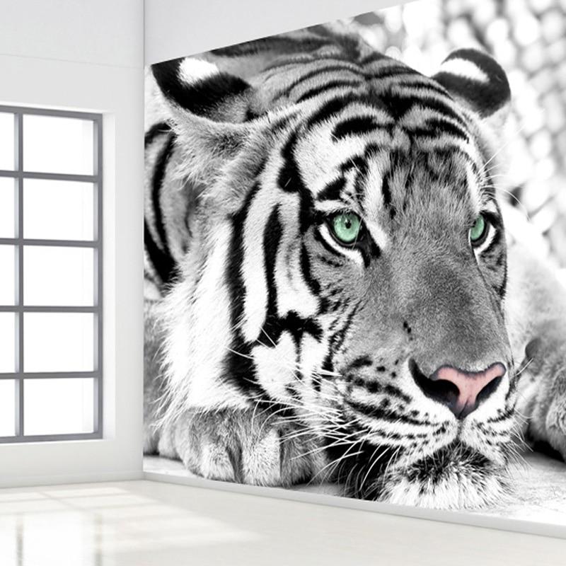 Personalizado 3d foto papel de parede preto branco animal tigre pintura da sala estar quarto entrada fundo da parede mural