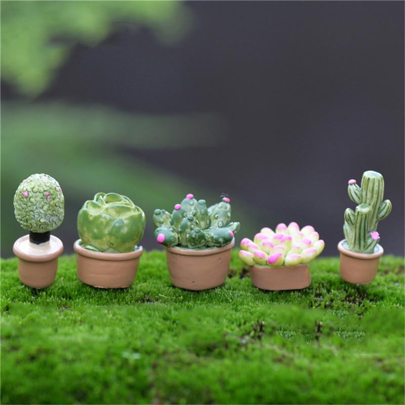 1 Juego, Mini Cactus Artificial realista, planta decorativa de flores para Mini casa de muñecas naturales