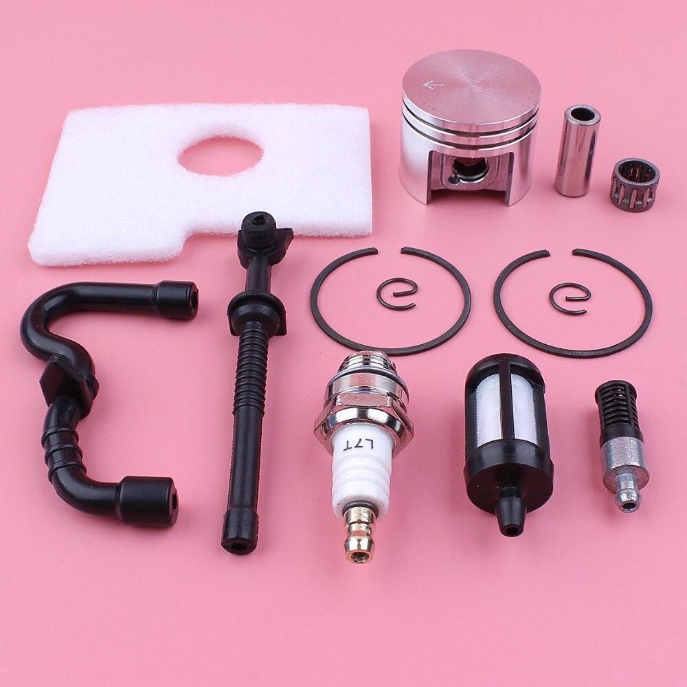 38mm pasador de pistón anillo de seguridad Kit para Stihl MS180 018 MS 180 de combustible de aire de filtro de aceite de tubo flexible rodamiento de agujas motosierra pieza de reemplazo