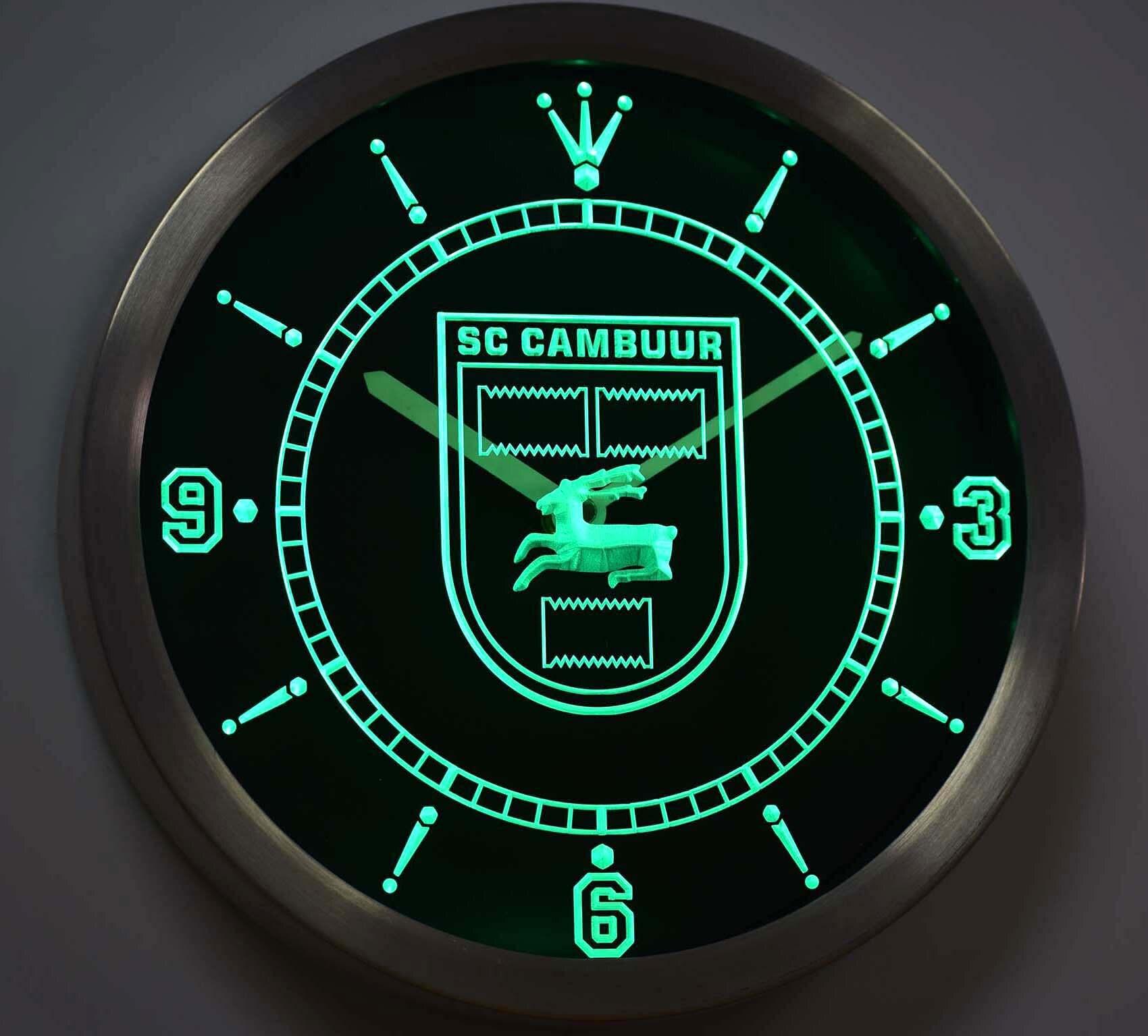 Nc1019 sc cambuur leeuwarden eredivisie futebol sinais de luz néon led relógio parede