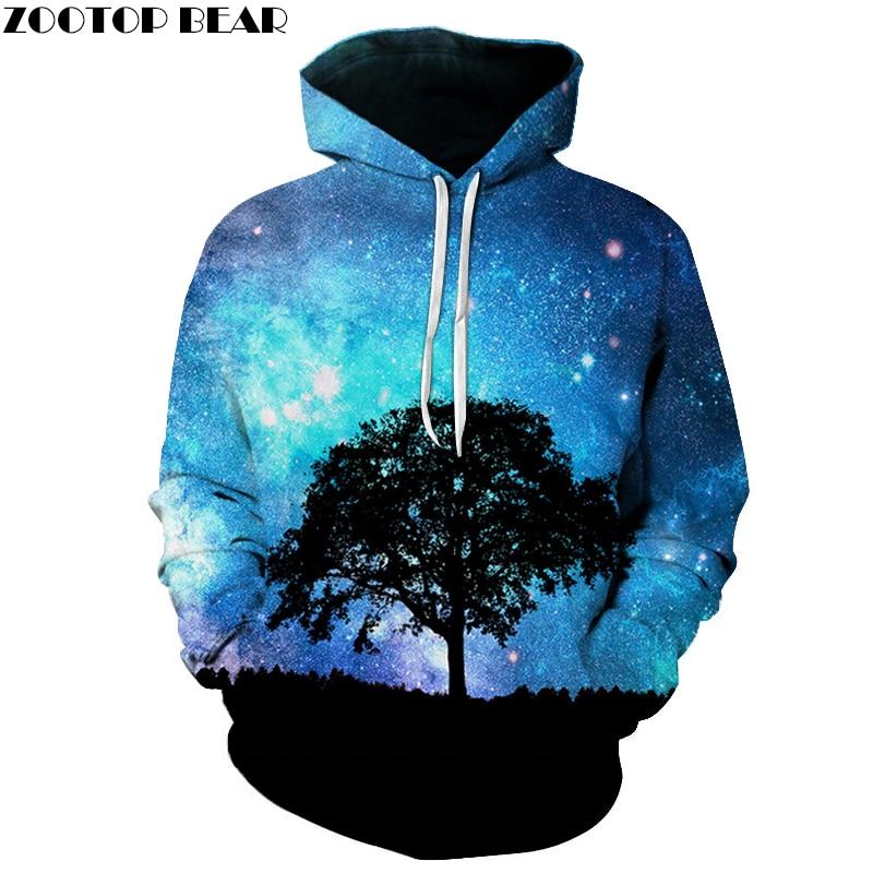 Galaxy Tree 3D Printed Hoodies Unisex Plus Size Sweatshirts Starry Tracksuit Hot Sale Pullover 6XL Novelty Streetwear HOT Hoody