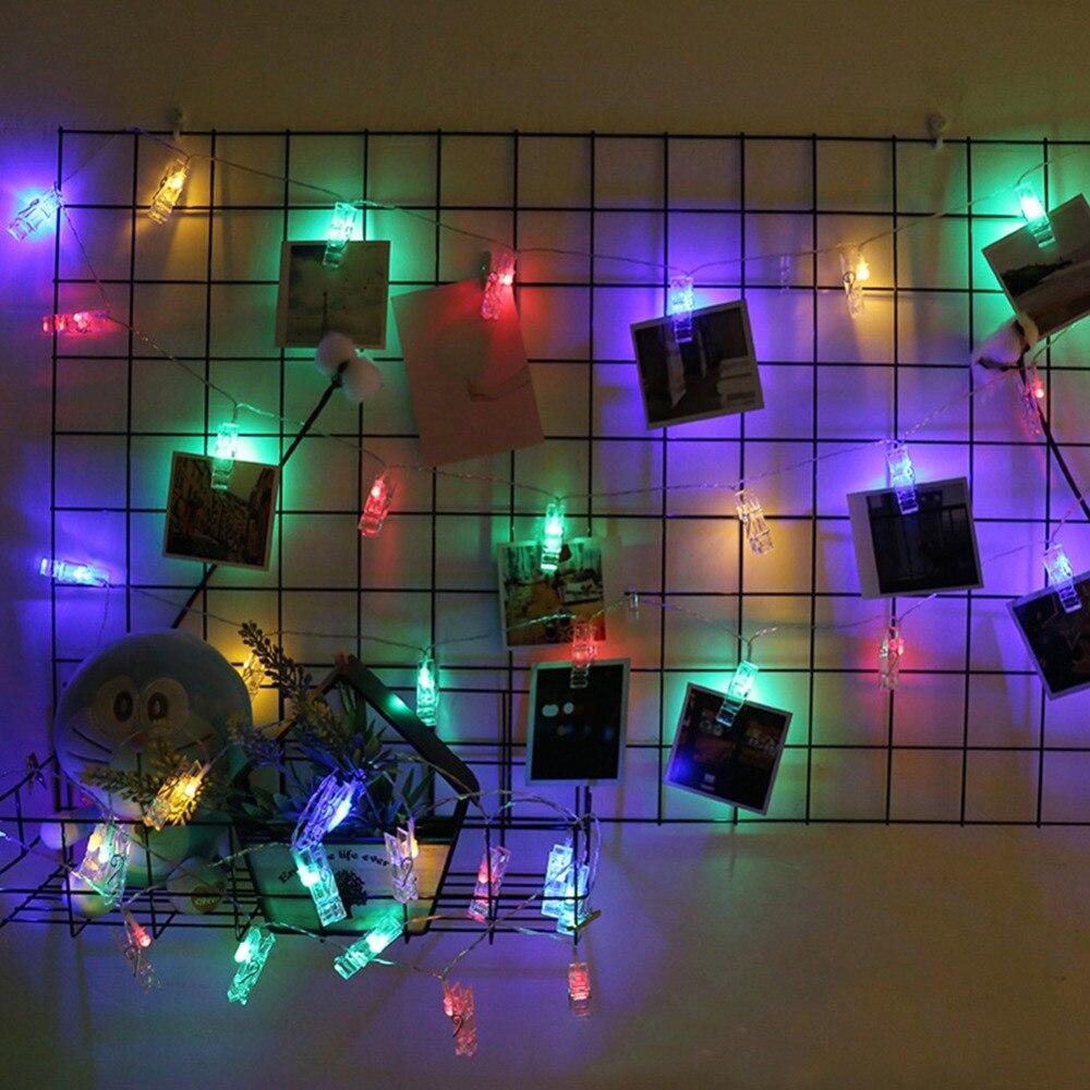 Soporte de Clip de foto de lujo de 1,5 M luces de cadena LED con batería Navidad Fiesta de Año Nuevo boda de San Valentín decoración de Ramadan