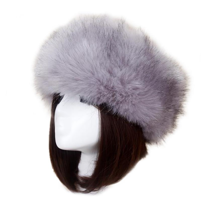 Nuevo gorro de piel sintética de Invierno para mujer, cosaco elástico estilo ruso, gorro cálido, gorro de Color liso, gorros suaves