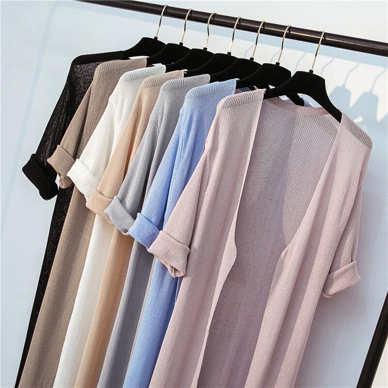 2019 Women Midi Long Thin Cardigan Summer Autumn Casual Loose Silk Knitted Cardigans Female Sweater Coat Jacket Plus Size AB1477
