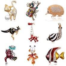 Cute Cat Rhienstone Brooches Alloy Animal Snails Frog Kangaroo Giraffe Fish Metal Scarf Pins Weddings Suit Dress Accessories Pin