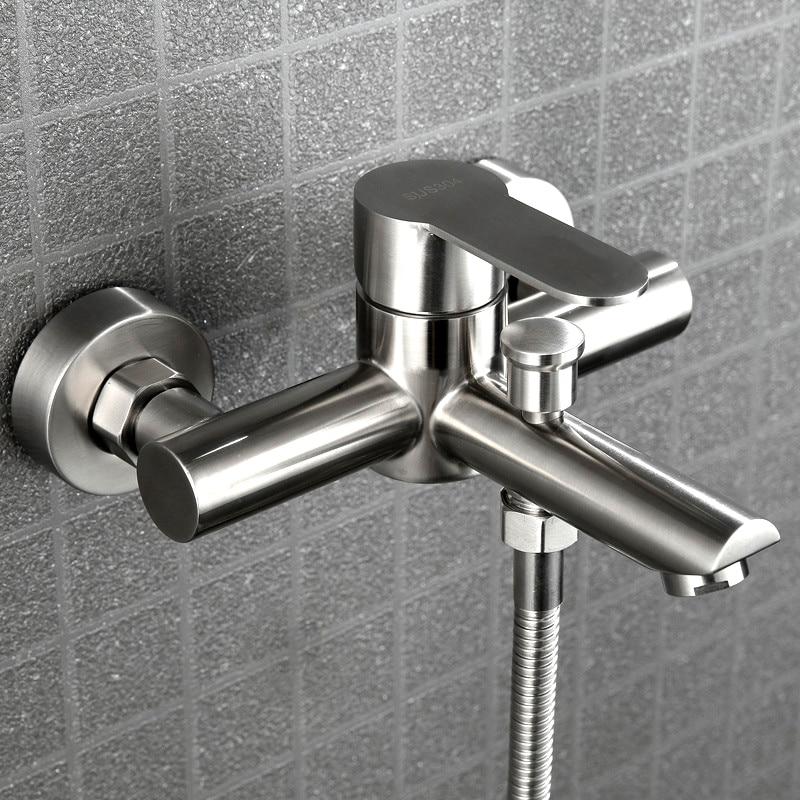 صنبور دش ثلاثي من الفولاذ المقاوم للصدأ مثبت على الحائط حوض استحمام للاستخدام في الحمام مياه باردة وساخنة صِمامُ تَغَيُّرِ التَّرَدُّدِ فوه...