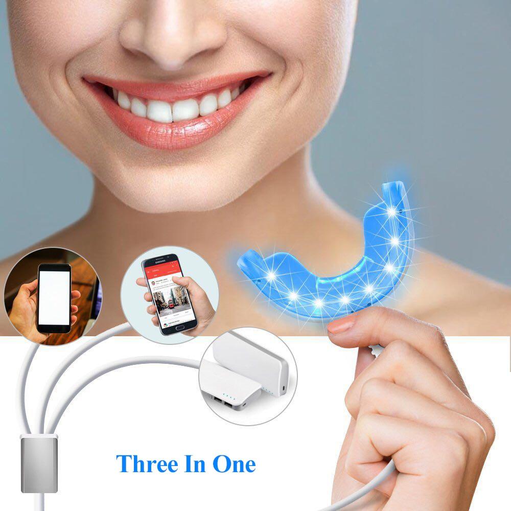 Dispositivo de blanqueamiento Dental portátil 3 en 1 carga USB 16 LEDs luz azul instrumento de blanqueamiento Sistema de blanqueamiento Dental herramienta de cuidado
