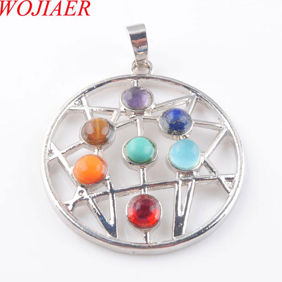 Wojiaer natural gem cura reiki chakra meditando figura constelação astrolábio pingente charme contas pn3263