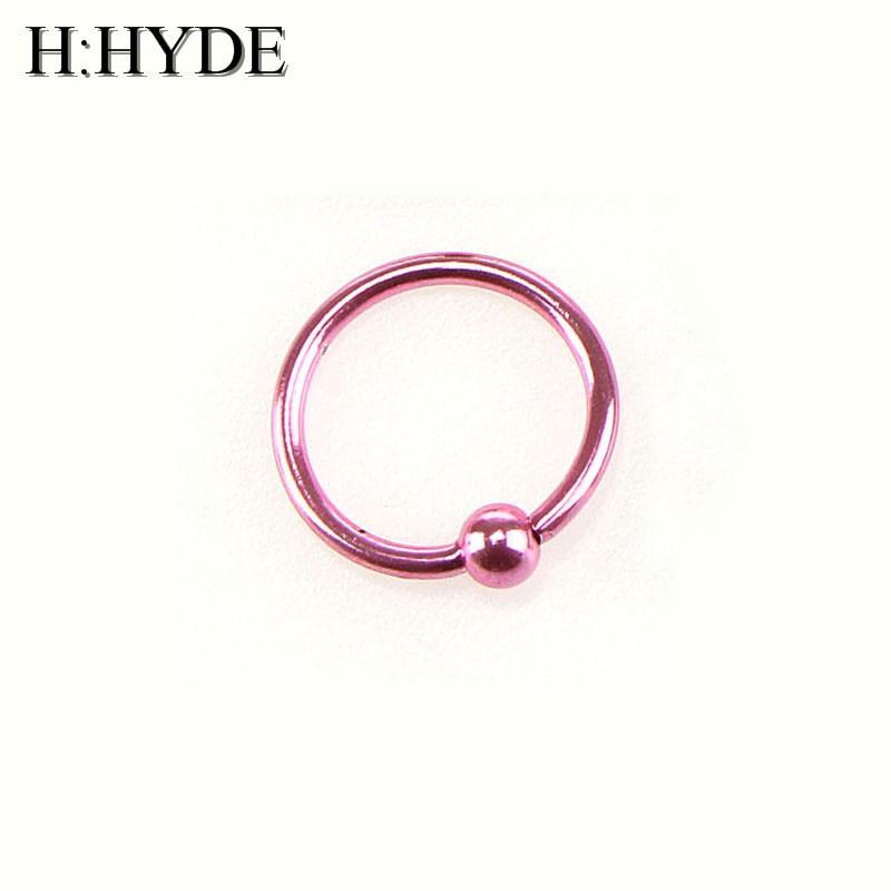H:HYDE 1 Piece Fake Nose Ring Goth Punk Lip Ear Nose Clip On Fake Septum Piercing Nose Ring Hoop Lip Hoop Rings Earrings