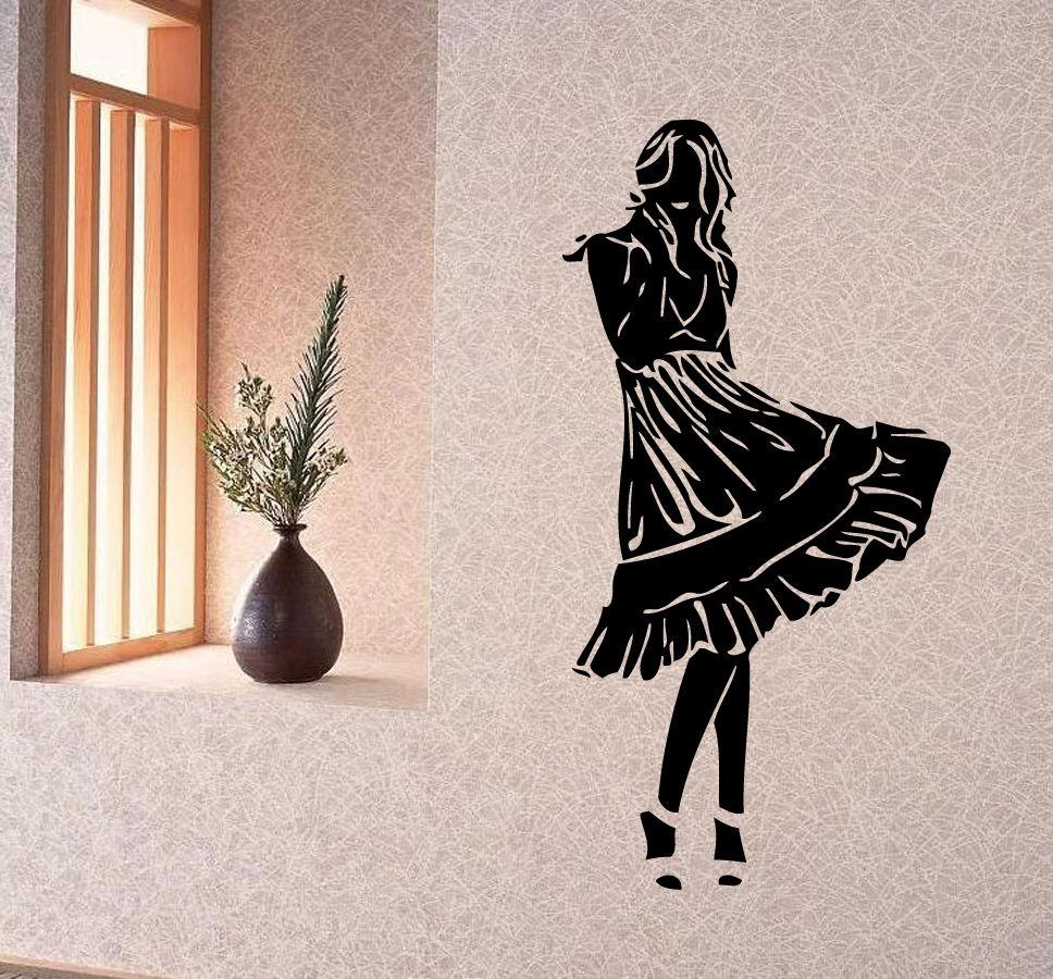 Calcomanías de pared vinilo pegatina arte Mural decoración bonito chica diseño de vestir