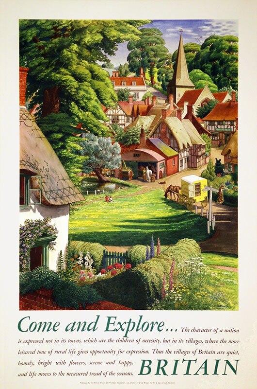 Pósteres de viaje de Inglaterra británica, vienen a estudiar pegatinas de pared clásicas de Gran Bretaña, póster de lienzo, póster Vintage de pintura para decoración de hogar o Bar, regalo