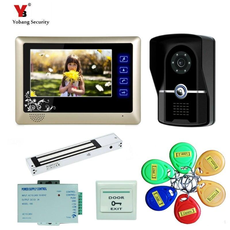 "Yobang seguridad envío gratis 7 ""Pantalla de grabación de Color Video intercomunicador timbre de la puerta teléfono Kit + RFID acceso timbre Cámara + cerradura eléctrica"