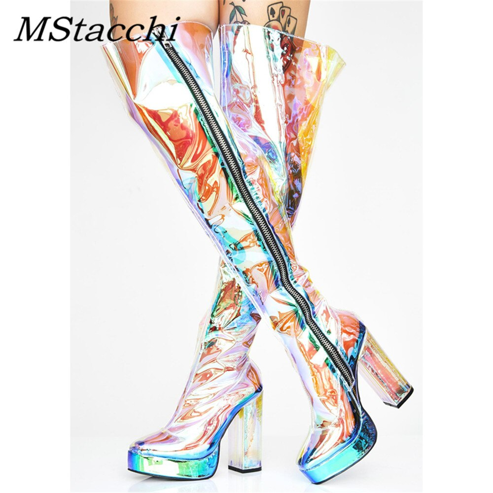 Mstafchi شفافة بولي كلوريد الفينيل المرأة أحذية عالية الصيف بريق سستة الجانب أحذية منصة مثير جولة تو النساء فوق الركبة الأحذية