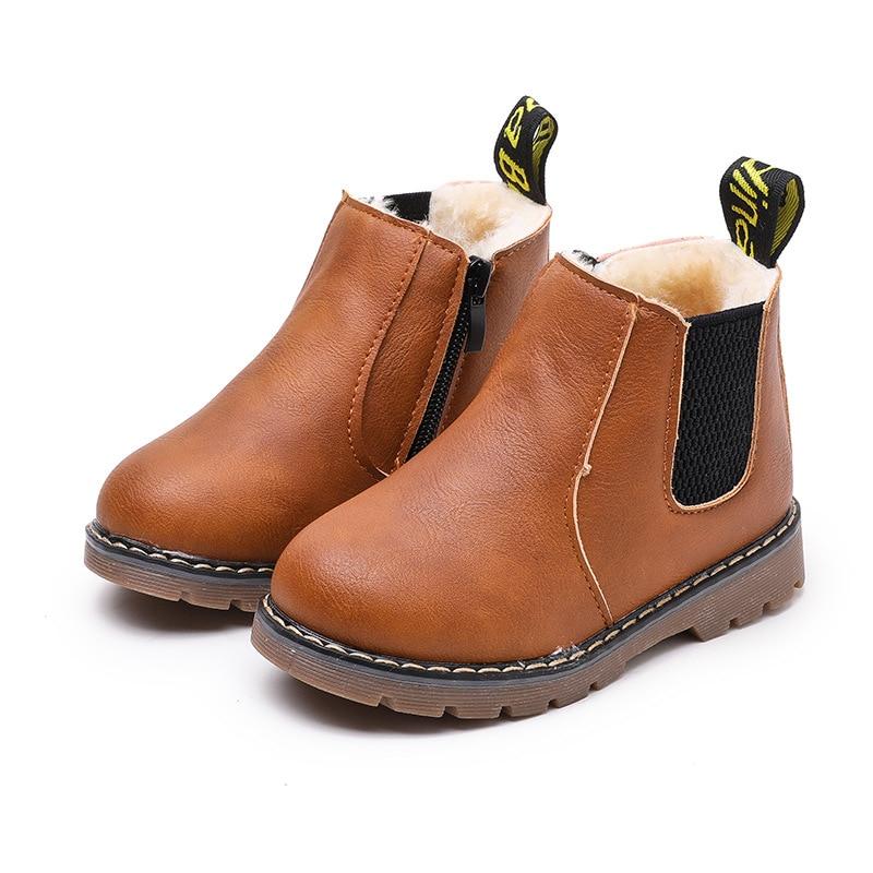 Bottines déquitation en cuir pour enfant, chaussures dautomne et dhiver, à la mode, garde au chaud, en peluche, collection décontracté