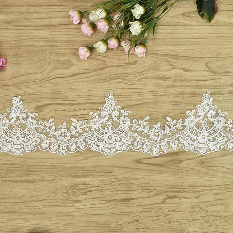 2018 nuevo diseño bordado de moda marfil Cordón de cisne borde y recorte de encaje para coser Borde de vestido de novia