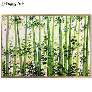 Ручная работа, бамбуковые пейзажи, Масляные картины на холсте, домашний декор, картины, зеленый лес бамбука, весенний пейзаж, настенная живо...