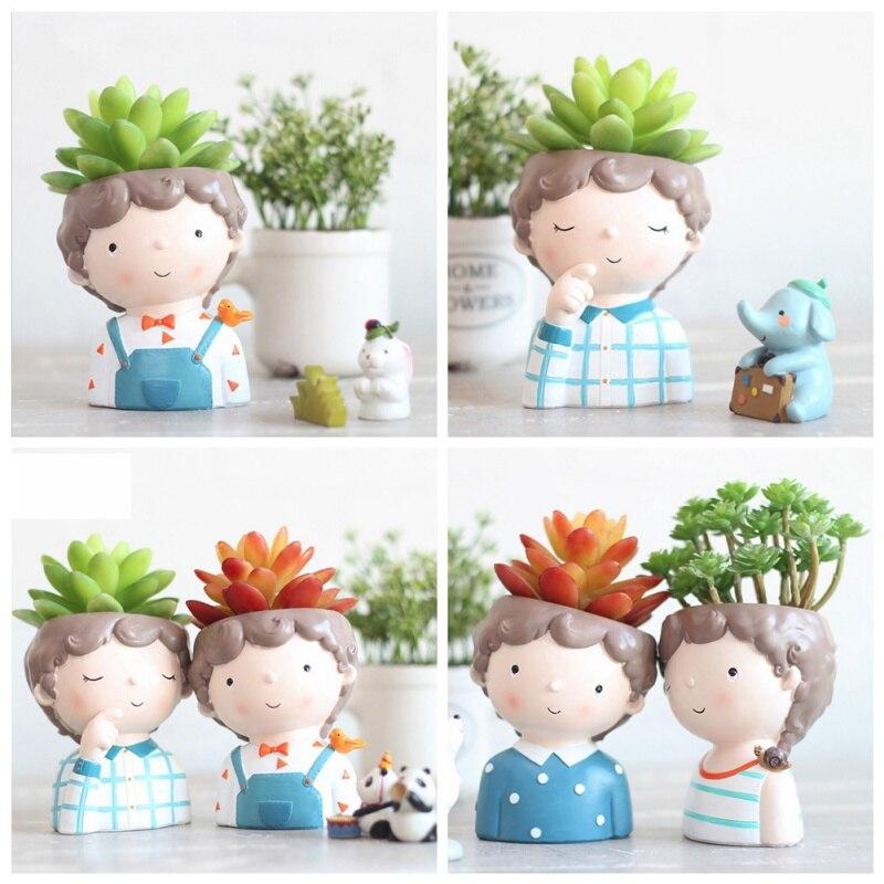 Planta suculenta Pote Bonito Dos Desenhos Animados Menino Mini Vaso de Flores Plantadores de Design Criativo Pequeno Bonsai Vaso de Flores Mesa de Escritório Em Casa Decoração
