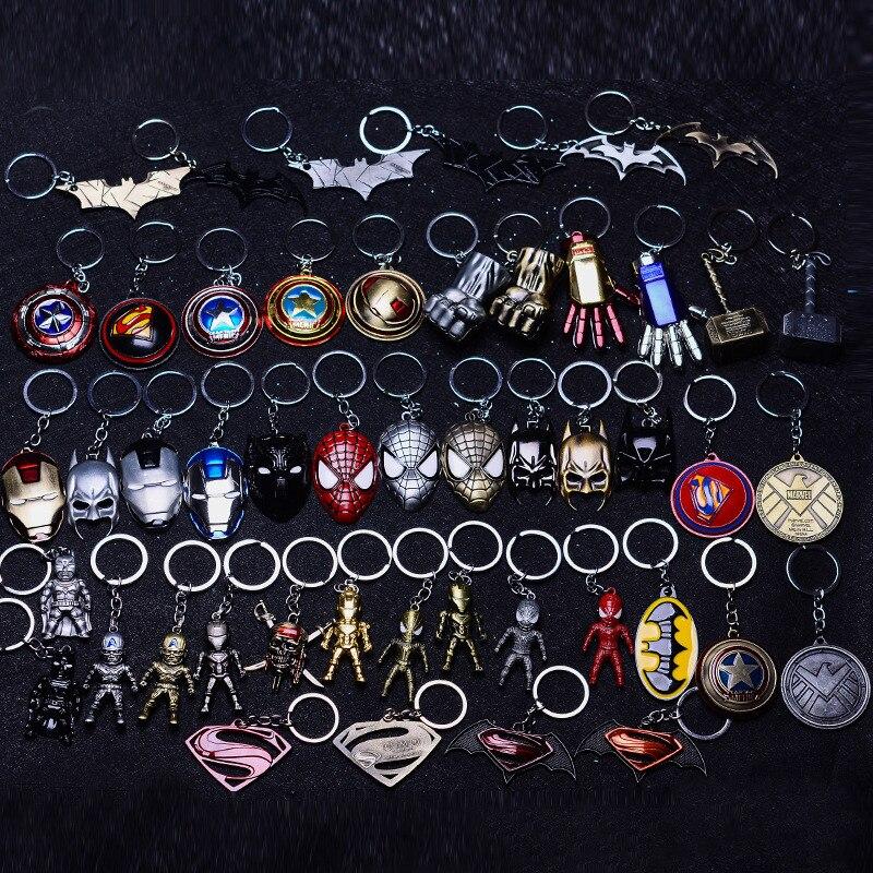 Metal Marvel Avengers Toys Captain America Shield Spider man Iron man Mask Car Keychain Hulk Batman Key Gift Toys