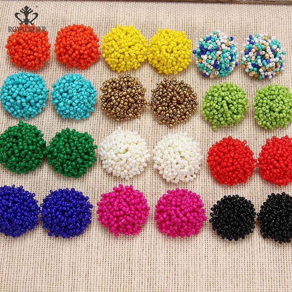 Pendientes geométricos bohemios de estilo étnico de resina Multicolor hechos a mano pendientes de cuentas de mujer pendientes de joyería de moda