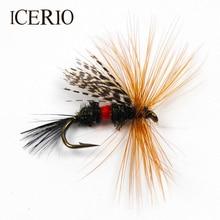 ICERIO 6 pièces Royal Wulff marron Hackle pêche à la truite appât à la mouche #12