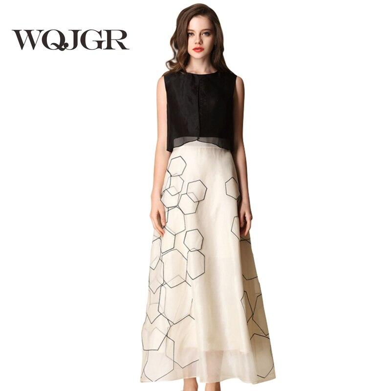 Vestido de seda WQJGR para mujer, vestidos sin mangas en Europa y América, seda pura