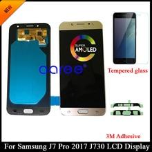 AMOLED probado para Samsung J7 Pro 2017 J730 pantalla LCD para Samsung J7 2017 J730F pantalla LCD montaje digitalizador táctil + adhesivo