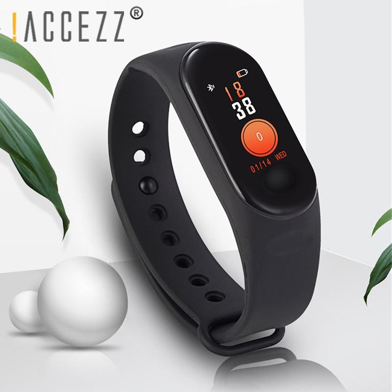 ¡! Pulsera de banda inteligente ACCEZZ para Xiaomi Medición de la presión arterial pulsera de pantalla colorida rastreador de Fitness M3 para IOS Android