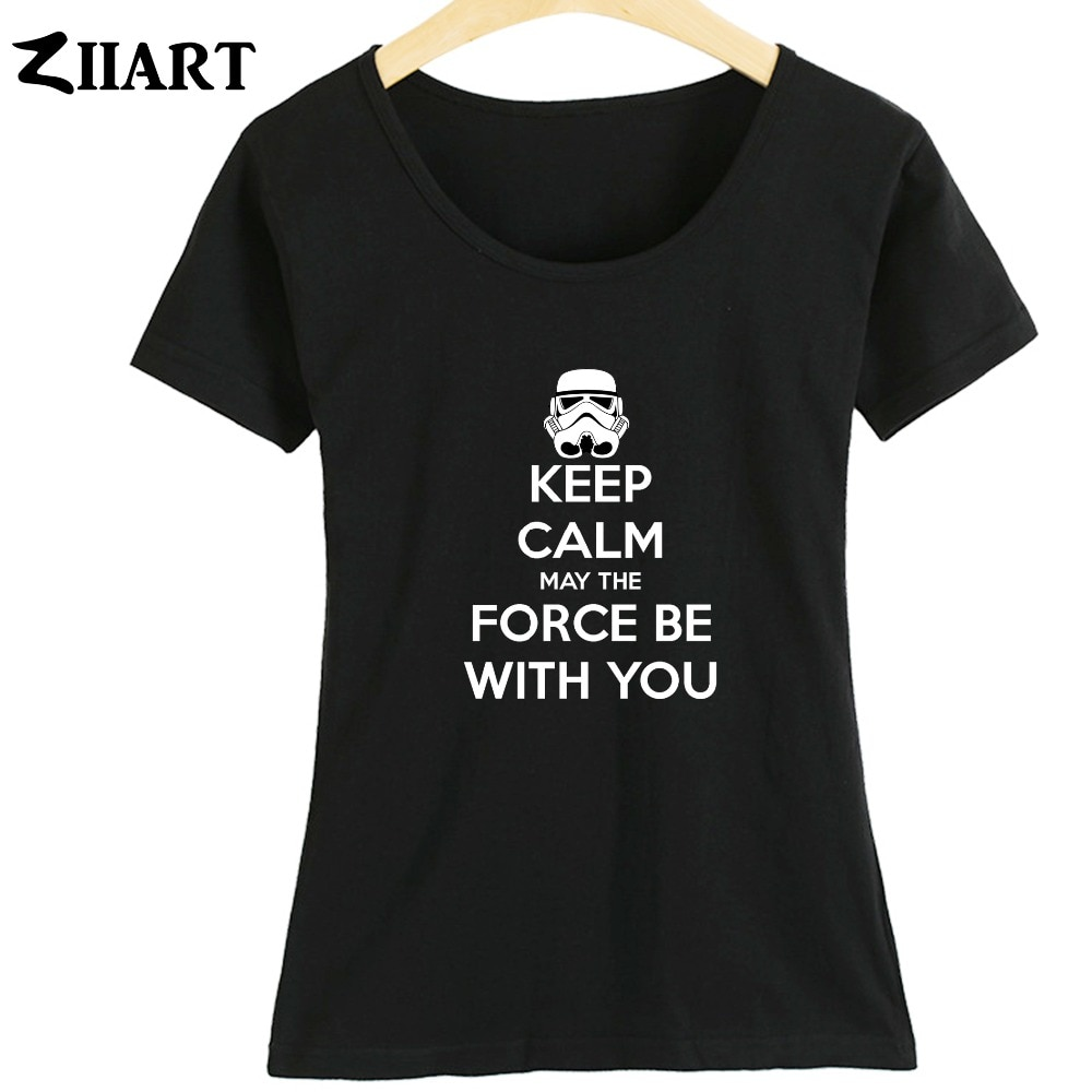 Ropa para parejas de star wars, KEEP CALM MAY BE WITH YOU THE FORCE, camisetas de manga corta de verano para mujer y Chica ziart