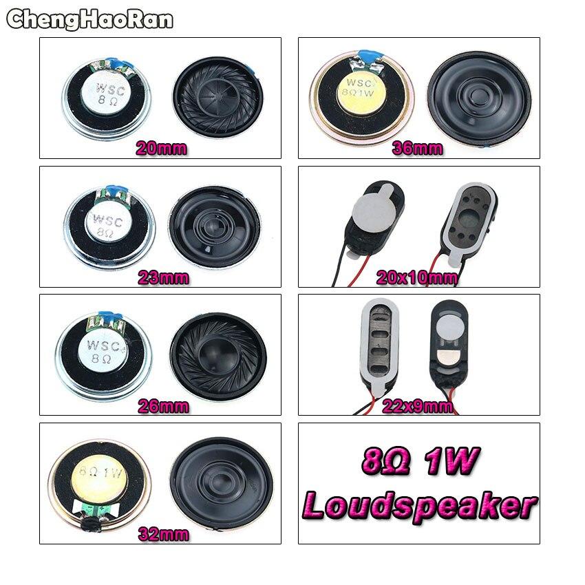 ChengHaoRan 8 Ohm 1W altavoz de cuerno 20mm 23mm 26mm 32mm 36mm diámetro 8R 1W pequeño altavoz electrónico al por mayor