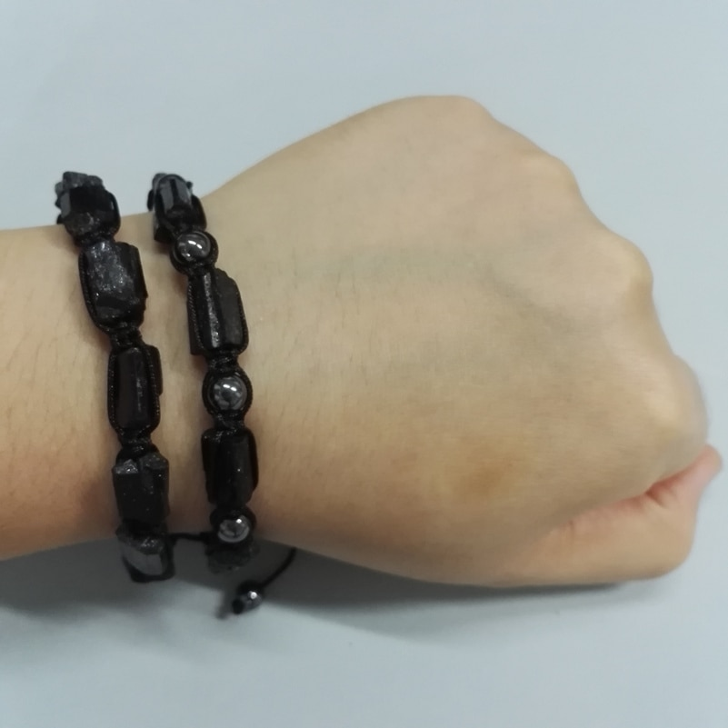 Natutal Raw Rough Black Tourmaline Beads 6mm Hematite Yellow Tiger Eye Stone Adjustable Macrame Unisex Energy Healing Bracelets