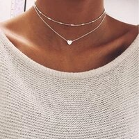 moon star heart choker necklace women double layer chain love necklace pendant on neck chocker necklace jewelry gift