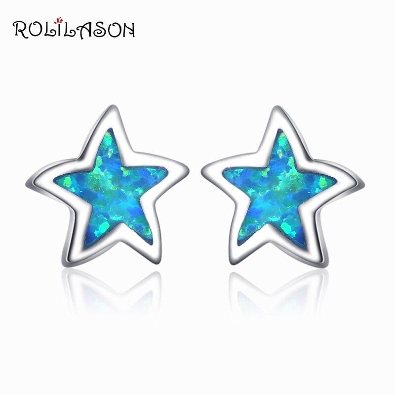 ROLILASON High quality Stars Design blue Fire Opal silver plated for women Stud Earring Fashion Jewelry OE752