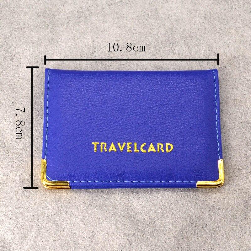 Funda de cuero Pu para tarjetero de viaje, cartera azul para mujer para tarjetas de crédito, minitarjetero para autobús, portadores de tarjetas bonitos, funda de identificación