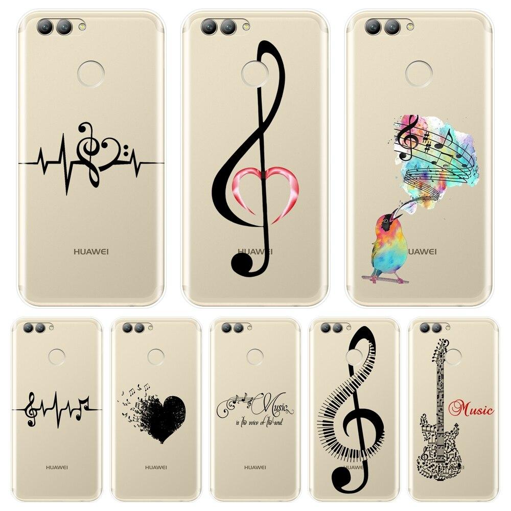 Funda trasera de nota musical con corazón para Huawei Nova 3 3I 3E 2i 2 Lite Plus, funda de silicona suave para teléfono Huawei Nova Smart Lite 2017