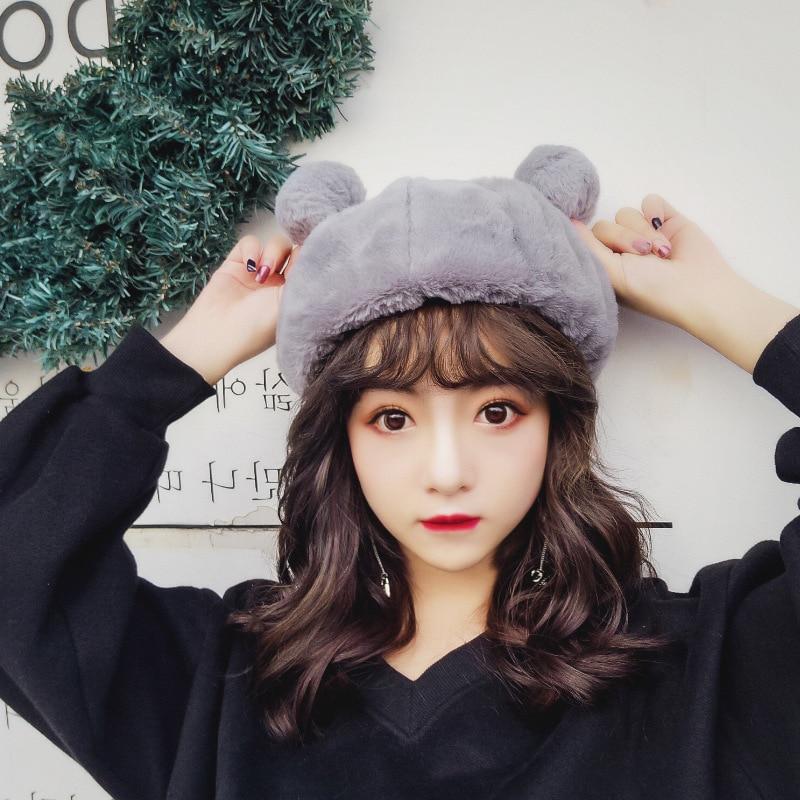 Amourlymei Милая шляпа принцессы Лолита в японском стиле Mori Girl Kawaii шапка с кошачьими ушками зимний шерстяной теплый берет ручной шерстяной берет шапка