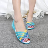 summer new flat hole shoes female beach jelly sandals students simple rainbow plastic sandals female
