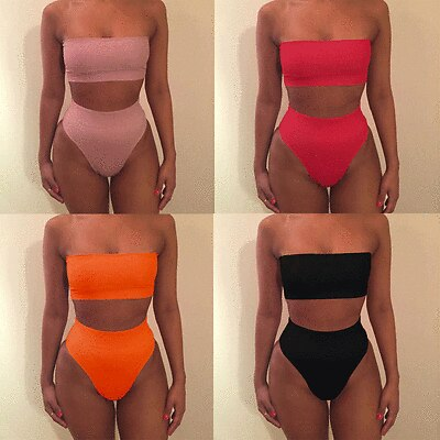 Sexy Women Bandeau Push-up Padded Bra Bandage Summer Bikini Set Swimsuit Triangle Swimwear Bathing