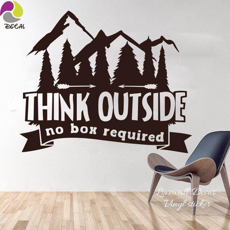 Pensar fuera de la Caja No requiere cita pared calcomanías pegatina sala de estar niños habitación montaña Camper árbol cita decir vinilo Oficina