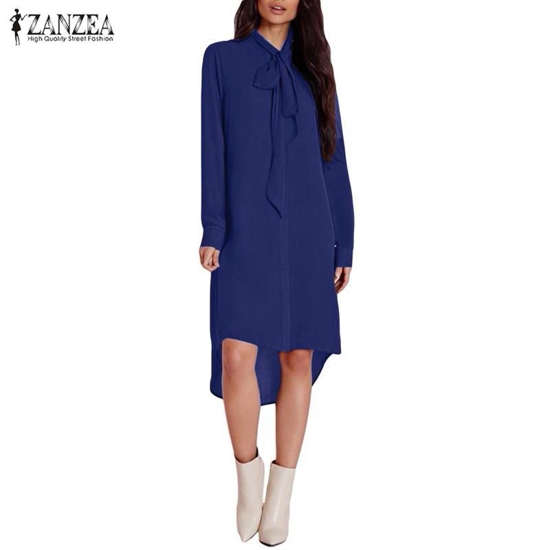 Blusas Femininas 2020 ZANZEA Women Casual Loose Chiffon Shirts Elegant Long Sleeve Irregular Blouse Tops Plus Size Blusas