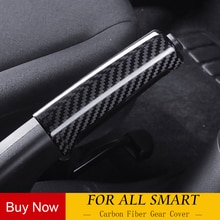 Botão do Deslocamento de Engrenagem do carro de fibra de carbono Verdadeiro decoração para novo 453 smart fortwo forfour Modificação acessórios de cobertura do freio de Mão