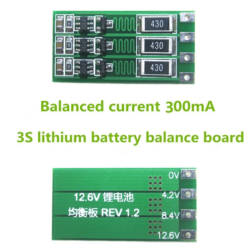 Tablero balanceador de batería de litio de Li-ion 3S 300mA 18650 batería de Li-ion Balance de corriente 1,1 V 12,6 V