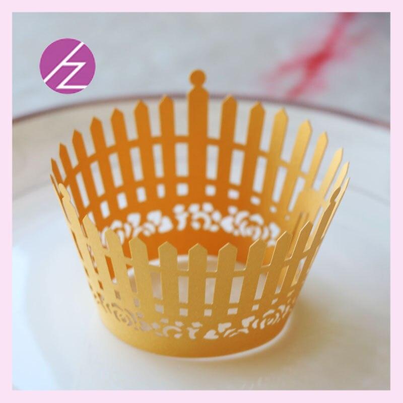 50 pzas unids/lote envoltorio de cupcakes con valla única, envoltorio para tazas de pastel con corte láser, envoltorios de papel de perla, suministros de decoración para fiestas de boda